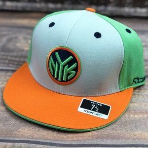New York Knicks Fitted Flat Brim Hat Orange Green